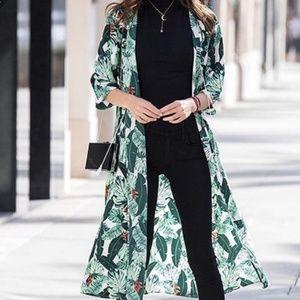 Rachel zoe palm print green lea duster kimono robe